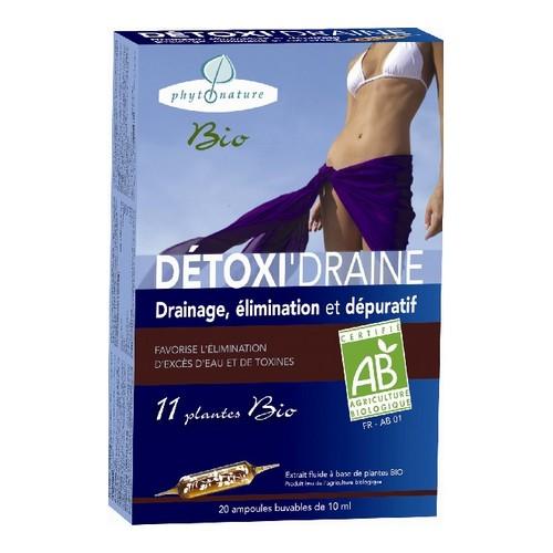 detoxidraine Bio 20 ampoules drainage dépuratif bio phytonature